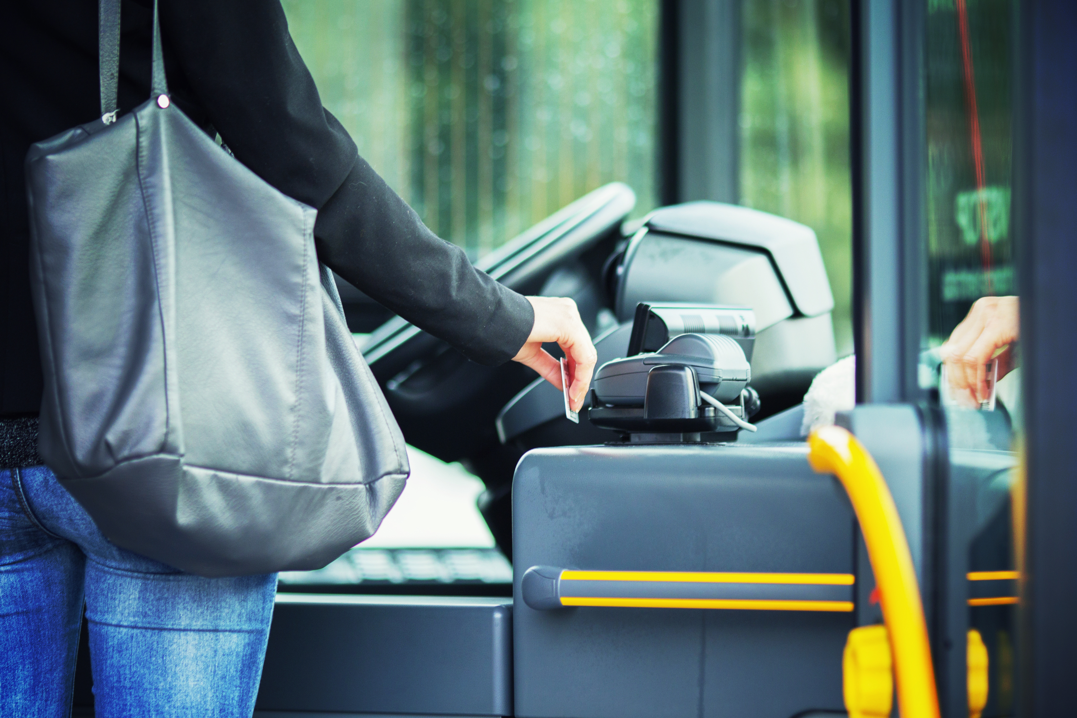 Contacless payment with RFID card on the public transportation.